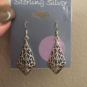 Sterling Silver Filigree Kite Earrings